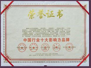 房医生,荣誉资质,中国行业十大影响力品牌